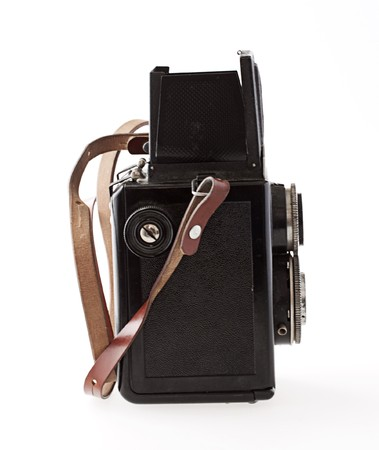 Wonderful old black camera with leather belt Stock Photo - 7812762