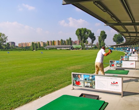 MILAN, ITALY - SEPTEMBER 10: Golf players practice at the Golf course