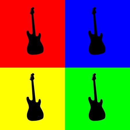complementary: Silhouette of electric guitar in black over four complementary colors