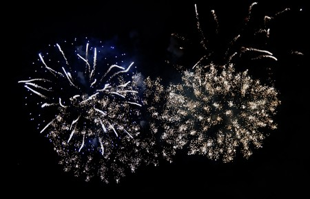 Fireworks exploding over a completely black background Stock Photo - 8130432