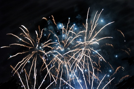 Multicolor fireworks exploding over a completely black sky Stock Photo - 8295005