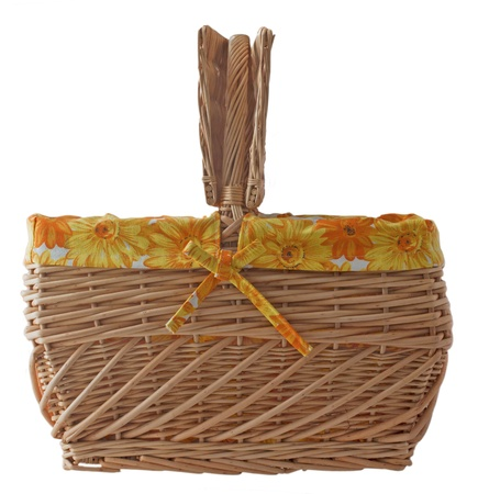 Picnic basket with yellow and orange decoration