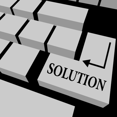 Illustration of a keyboard with solution written on a key Stock Photo