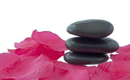Some black stone for massage with petals of rose photo