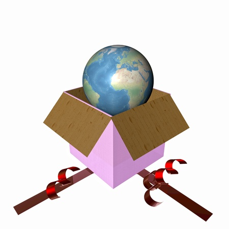 3D illustration of world coming out of a gift box illustration