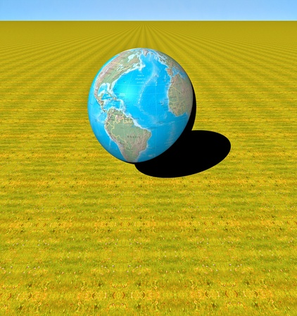 3D world on an infinite green field photo