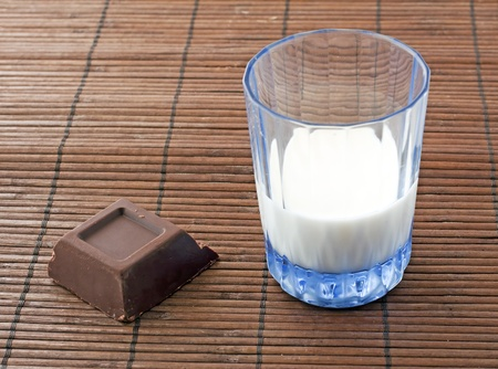 Block of chocolate near a milk glass over wooden mat photo
