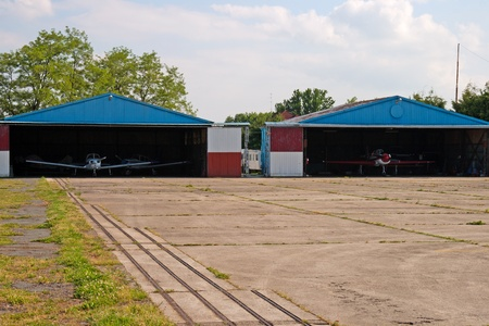 View of two hangars with private planes Stock Photo - 9789924