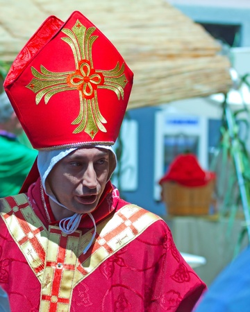 CANELLI, ITALY - JUNE 19: man acting as a bishop at reenactment of Canelli siege, 1613 battle, June 19, 2011 at Canelli, Piedmont, Italy Stock Photo - 9768057