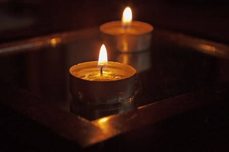 Close up of a candle, with another on the back Stock Photo - 10038917