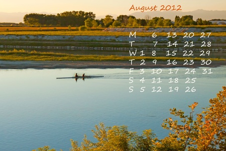 Page of calendar of 2012, month of August, sport of rowing