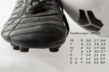 Page of calendar of 2012, month of September, sport of soccer photo