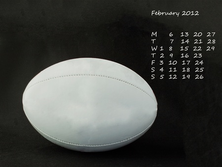 Page of calendar of 2012, month of February, sport of rugby