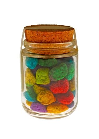 Colorful stones in a glass can, bath salt
