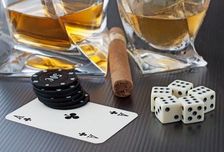 whiskey glass: Whisky, cigar, dice and cards over black background Stock Photo