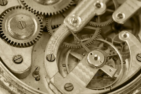 Close up of mechanism of an old clock