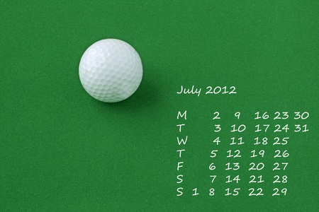 Page of calendar of 2012. Month of July, sport of golf