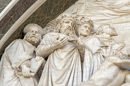 Bas-relief with Magi, on the front of church of Santa Croce in Florence photo