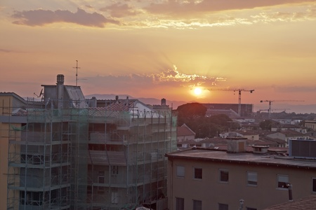 red light district: Beautiful sunset over the landscape of the city