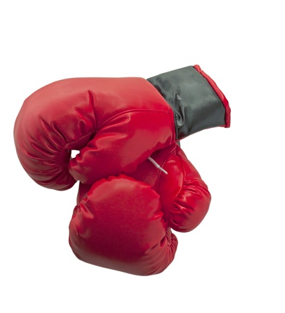 Red and black boxe gloves isolated over white background photo