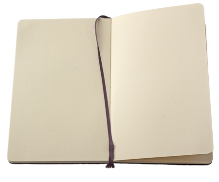 Open notebook with bookmark isolated over white