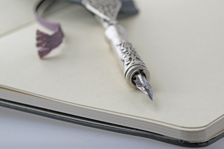 Old pen over a notebook (strict depth of field) Stock Photo - 10689181