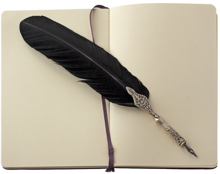 Old elegant black pen over a notebook Stock Photo - 10689178