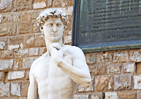 Front view of world famous statue of David of Michelangelo, in Florence photo