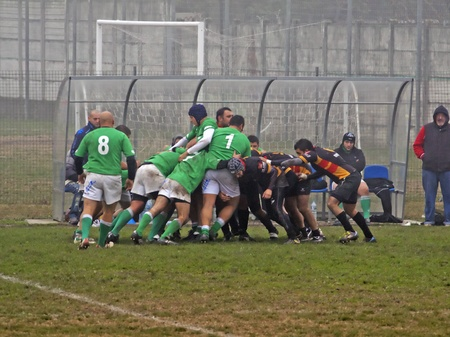 CASALE MONFERRATO, ITALY - NOVEMBER 20: Rugby game between Casale Le Tre Rose and Rugby La Spezia, Italian Serie C, November 20, 2011