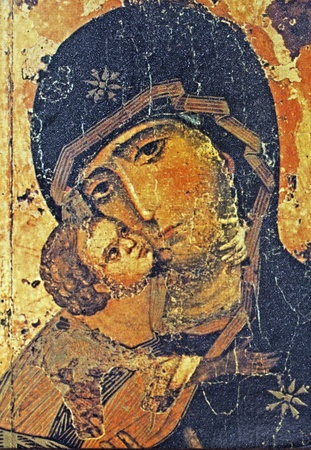 russian church: Greek Icon with St.Mary and Baby Jesus