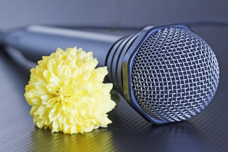 Gray microphone with yellow flower over black background photo