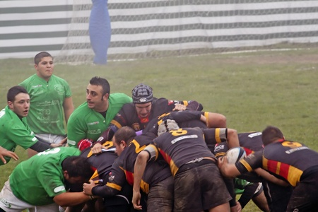 CASALE MONFERRATO, ITALY - NOVEMBER 20: Rugby game between Casale Le Tre Rose (green shirt) and Rugby La Spezia (black), Italian Serie C. Final result: Spezia 31-Casale 5. Lines from both teams involved in a maul. November 20, 2011