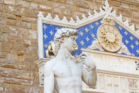 Close up of world famous statue of David of Michelangelo, in Florence photo