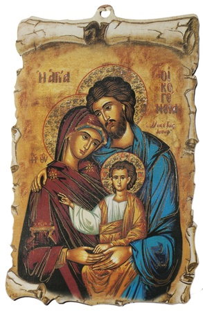 Greek Icon with Holy Family, isolated over white photo