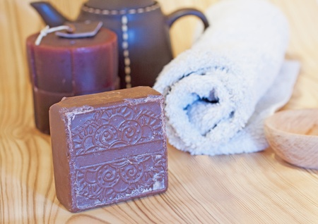 Soap, towel and other accessories for hammam photo