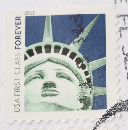 US Stamp with close up of Miss Liberty photo