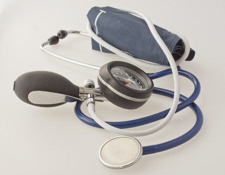 COmplete view of a sphygmomanometer, over white background photo