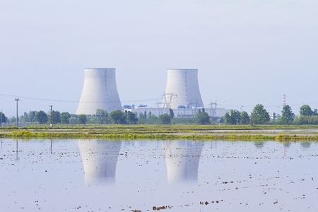 Two reactors of a nuclear power plant on the back of a pool photo
