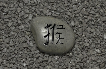 Stone with chinese ideogram , symbol of the chinese horoscope