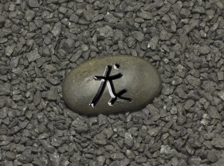 Stone with chinese ideogram , symbol of the chinese horoscope photo