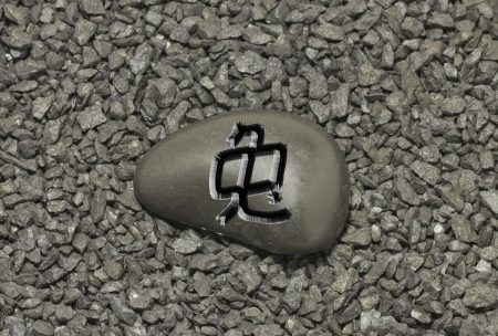 ideogram: Stone with chinese ideogram , symbol of the chinese horoscope