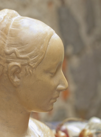 Close up of face of a beautiful female statue photo