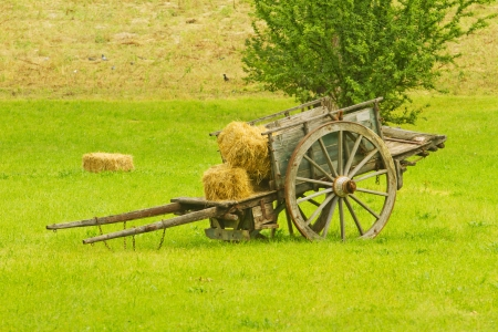 barrow: Little barrow with bales of hay in a green grass field