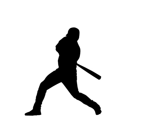 Black silhouette of baseball player over white background