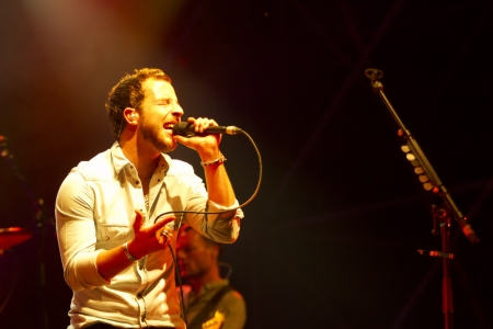 morrison: VIGEVANO, ITALY - July 23: James Morrison sings at own concert inside the Vigevano Castle, July 23, 2012 in Vigevano, Italy