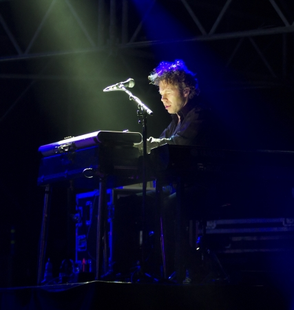 morrison: VIGEVANO, ITALY - July 23: Keyboard player at James Morrison concert inside the Vigevano Castle, July 23, 2012 in Vigevano, Italy Editorial