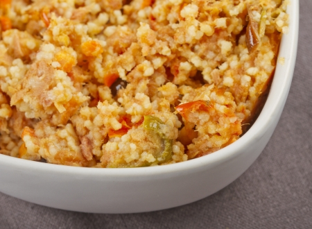 Close up of cous cous in a white cup Stock Photo