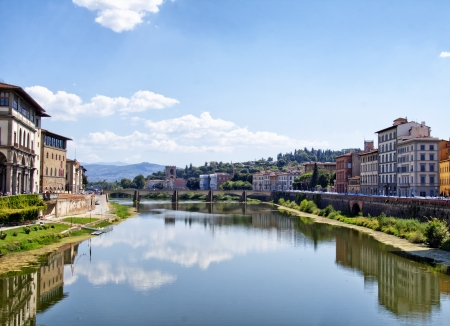 Beautiful view of Arno river, at Florence, Italy photo
