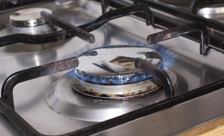 Close up of a lit gas cooker photo