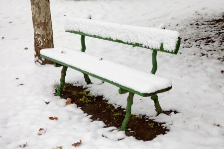 A green bench covered by snow in a park Stock Photo - 16878714